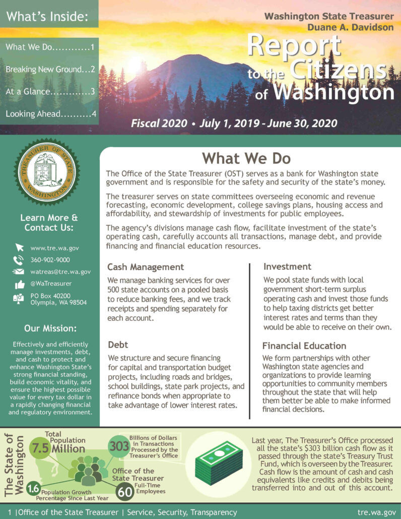 Washington State Office of the State Treasurer Citizen Centric Report for fiscal year 2020. Page 1